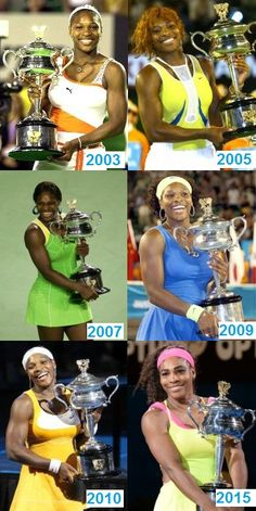 Memory lane: Serena Williams with her 6 Australian Open trophies