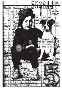Tim Holtz Rubber Stamp BEST FRIENDS Boy Dog by FaerieDustDreams, $6.99