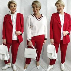 Mature Fashion, Plus Size Fashion, Fashion Art, Fashion Looks, Red Trousers, Sporty Look, Carolina Herrera, Older Women, Dressing