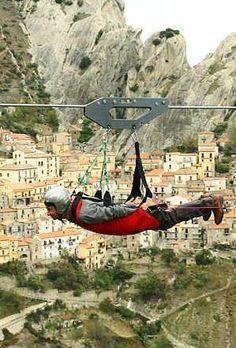 Volo dell'Angelo at #Castelmezzano Town, #Potenza - #Italy http://en.directrooms.com/hotels/subregion/2-31-6122/