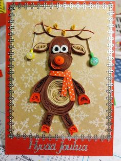 Christmas Cards, Christmas Ornaments, Quilling, Reindeer, Holiday Decor, Home Decor, Christmas E Cards, Bedspreads, Decoration Home