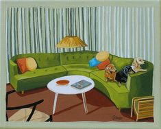 Mid Century Modern Eames Retro Limited Edition Print from Original Painting Daschunds Sofa