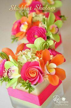 DK Designs: Pink, Orange and Green Flowers for a Destination Wedding in Jamaica Sugar Flowers, Orange Flowers, Love Flowers, Paper Flowers, Beautiful Flowers, Clay Flowers, Ranunculus Flowers, Bright Flowers, Beautiful Cakes