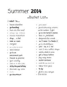 summer bucket list 2014 :) made by @Mary Alice Bilbo