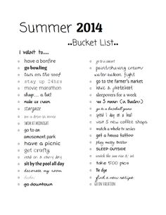 summer bucket list 2014 :)