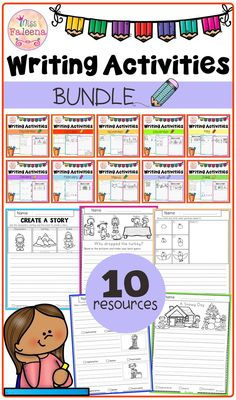 Writing Activities Bundle has 300 pages of writing worksheets. This product is suitable for kindergarten through second grade students. Students are encouraged to use thinking skills while improving their writing skills. These pages can be used for morning work, literacy centers, and writing centers. Kindergarten |  First Grade  | Second Grade | Informational Writing Prompts | Opinion Writing Prompts | Narrative Writing Prompts  | Create a Story | Literacy Centers | Writing Prompts Bundle