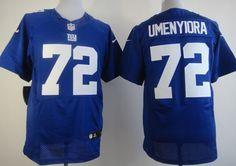Nike New York Giants #72 Osi Umenyiora Blue Elite Jersey