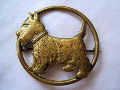 Vintage Scottie Dog Brooch - or Westie - Brass. $16,00, via Etsy.