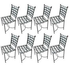 Set of 8 French Iron Garden Chairs