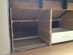 Eaves Storage, Wall Storage, Diy Storage, Attic Bedroom Storage, Attic Bedrooms, Attic Inspiration, Furniture Inspiration, Attic Loft, Loft Room