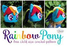 Rainbow Pony Child-sized Hat - Free Crochet Pattern from Stitch 11