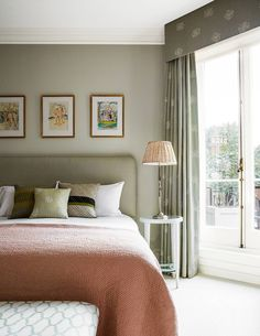 It was only after dispelling a ghostly presence that the interior designer Virginia Howard was able to start reorganising the space in this London flat, introducing neutral schemes with hints of pink Bedroom Green, Home Bedroom, Bedroom Decor, Green Bedroom Curtains, Bedroom Ideas, Master Bedroom, Bedroom Colors, Contemporary Bedroom, Modern Bedroom