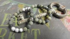 Frosted Natural Green Rutilated Quartz and Frosted Howlite