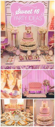 What an amazing Parisian sweet sixteen party! There's a stunning dessert table and a French boutique! See more party planning ideas at CatchMyParty.com!