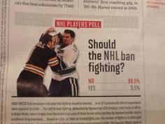 who voted yes??...sedins Other than your team winning fights are the best part of the game..