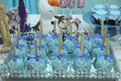 Snowflake candy apples at a Frozen birthday party! See more party planning ideas at CatchMyParty.com!