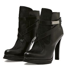 French Connection Serena Heeled Booties in Black Leather and Haircalf #boot #heel #ponyhair