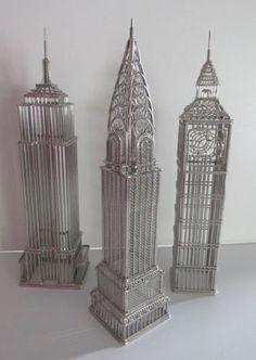 Lot-3-Doodles-Destinations-Chrysler-Building-Empire-State-New-York-Big-Ben-Wire