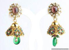 Indian Bollywood Designer Fashion Jewelry Light Green Polki Jhumka Earrings Set #VGJewel #Stud