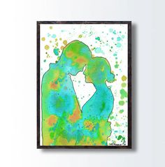 I LOVE YOU Painting, Silhouette PRINT, Colorful Unique print, Blue Green Wall Decor, Bedroom Wall Decor, Gift For Her, Watercolor Painting by DHANAart on Etsy