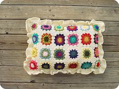 "Ravelry: TraceyNicole's granny square pillow (aka ""too impatient to finish a blanket"" pillow)"