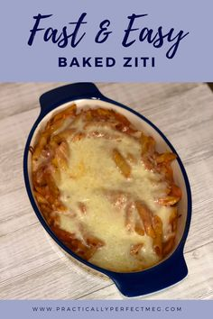 This version of baked ziti takes about an hour and is a little more fugal because it calls for grated Parmesan cheese from a shaker which is less expensive than regular Parmesan. #bakedziti #pasta #casserole #recipe