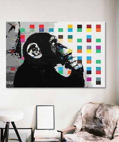 Another great find on #zulily! The Thinker Monkey Dots Close Up Replica Gallery-Wrapped Canvas by Banksy #zulilyfinds