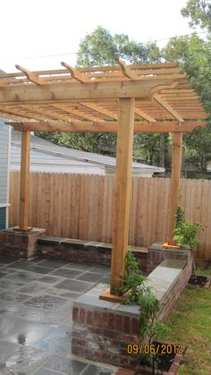 Red Field project - pergola with raised built-in benches