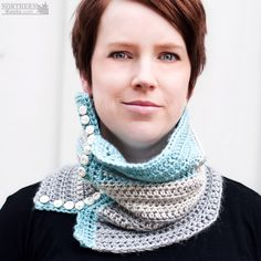 Crochet Pattern - Vintage Charm Cowl (scarf) Crochet cowl pattern - button cowl - button-up cowl - vintage scarf pattern - ombré cowl - colour block scarf - light weight cowl - winter crochet