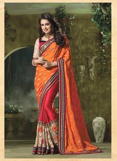Majesty Orange Embroidered Work Jacquard Designer Traditional Sarees