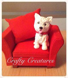 Creature Comforts :- the Westie new clay figurine (chair inc) £15 + p&p www.facebook.com/monscraftycreaturesuk #dog #dogs #dogsofinstagram #pets #polymerclay #fimo #etsyuk #westie #westhighlandwhiteterrier #terrier #pets #puppies #puppy