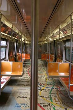 Interior Design of a New York Subway Train
