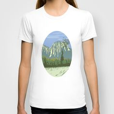 El Capitan Granite Monolith Oval WPA T-shirt. WPA style illustration of El Capitan a granite monolith and vertical rock formation in Yosemite National Park, located on the north side of Yosemite Valley, near its western end set inside oval shape done in retro style. #illustration  #ElCapitanGraniteMonolith