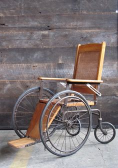 """""""The teacher and Jella ran beside the wheel chair, straining and panting to keep the bouncing chair upright. 'Just so the wheels don't come off,' the teacher said."""" (antique wheelchair)  Get sensory, hands-on activity ideas for teaching THE WHEEL ON THE SCHOOL by Meindert DeJong at http://www.litwitsworkshops.com/free-resources/the-wheel-on-the-school/  LitWits Kits make literature real and fun for kids!"""
