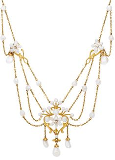 An Art Nouveau Freshwater Pearl, Diamond and Gold Swag Necklace, circa 1900.