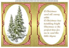 A5 incert With Verse and christmas trees in red  on Craftsuprint - Add To Basket!