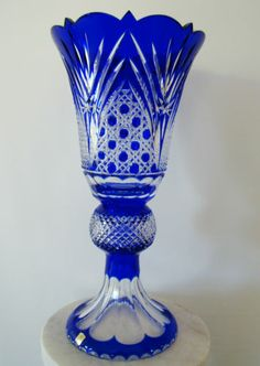 "Caesar Bohemian Czech Cobalt Blue Cut to Clear Crystal Pedestal Vase 20""   eBay"