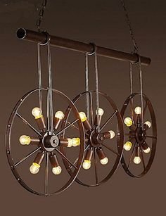Iron wheel Retro Cafe Bar Chandelier Chandelier Clothing Store Source by lightingandfaucets store Café Retro, Retro Cafe, Bicycle Parts Art, Bicycle Art, Bicycle Decor, Recycled Home Decor, Cheap Pendant Lights, Coffee Shop Design, Retro Home Decor