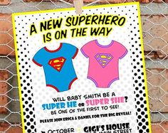 Gender Reveal - Party Invitation - Superhero Theme - Super He or Super She - Printable - He or She - Boy or Girl -  Baby -  Pink or Blue