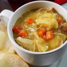 Easy Chicken and Dumpling Soup - this from scratch soup is a creamy and delicious meal! Take a shortcut using rotisserie chicken and refrigerator biscuits on the stovetop, this southern style classic is old fashioned comfort food bliss! Easy Chicken Enchilada Casserole, Easy Enchilada Recipe, Easy Casserole Recipes, Soup Recipes, Chicken Dumplings Easy, Dumplings For Soup, Easy Chicken Dinner Recipes, Baked Chicken Recipes, Chicken Noodle Soup Rotisserie