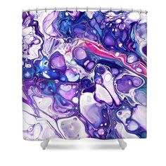 Fluid Acrylic Purple Fantasy 4 Shower Curtain by Jenny Rainbow. This shower curtain is made from polyester fabric and includes 12 holes at the top of the curtain for simple hanging. The total dimensions of the shower curtain are wide x tall. Artwork For Home, Home Art, Curtains With Rings, Curtains For Sale, Fluid Acrylics, Basic Colors, Abstract Pattern, Shower Curtains, Color Show