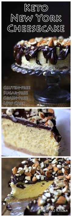My PCOS Kitchen - Keto New York Cheesecake - This decadent sugar-free and gluten-free cheesecake is the perfect treat for any day of the week! Who doesn't love a Low Carb Cheesecakes! via…More 8 Guilt Free Keto Diet Friendly Cheesecake Recipes Desserts Keto, Keto Friendly Desserts, Dessert Recipes, Paleo Dessert, Recipes Dinner, Low Carb Cheesecake Recipe, Gluten Free Cheesecake, Paleo Snack, Keto Snacks