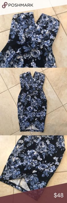 Lulus Floral Bodycon Dress Beautiful floral bodycon from Lulus. Sweetheart neckline, asymmetrical bottom. Size small/4. Brand new never worn! Lulu's Dresses
