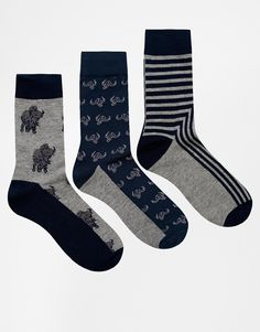 Socks by Bellfield Lightweight stretch fabric Ribbed neck Contrasting patterns Three pack Form fitting design Machine wash 70% Cotton, 25% Polyester, 5% Elastane