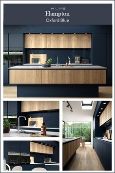Dark kitchens are all about the drama and this dark blue combination with a wood effect textured finish is the epitome of modern kitchen design. Masterclass Kitchens distribute kitchens across to independent retailers across England, Wales and Scotland Blue Kitchen Designs, Kitchen Room Design, Kitchen Cabinet Design, Modern Kitchen Design, Interior Design Kitchen, Dark Blue Kitchen Cabinets, Dark Blue Kitchens, Kitchen White, Handleless Kitchen