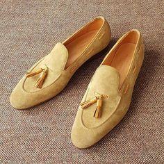 Handmade Beige Suede Moccasin Slipper Tussle Leather Dress Formal Office Shoes - Dress/Formal
