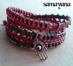 Bracelet Varanasi 5 turns red gold plated Charm Hamsa by Samayana