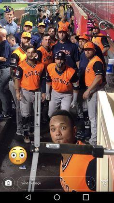 Baseball Dugout, Baseball Playoffs, Major League Baseball Teams, Baseball Boys, Mlb Teams, Baseball Stuff, Softball, Astros Team, Astros World Series