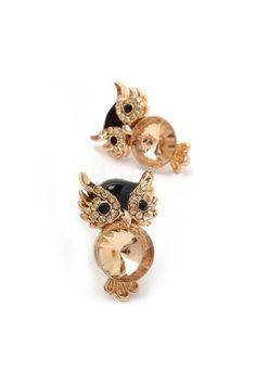 Champagne Crystal Owl Earrings