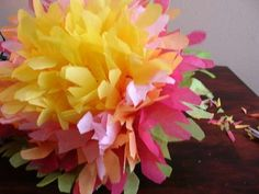 Mexican paper flowers.  I would love to do these for Cinco de Mayo